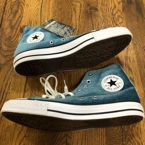 Converse All Star Blue Velvet High Top Sneakers
